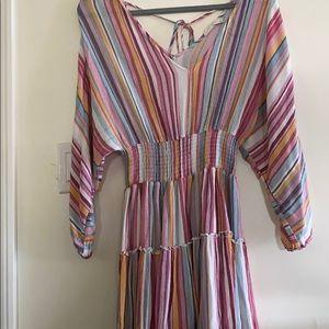 Smocked waist rainbow strip dress